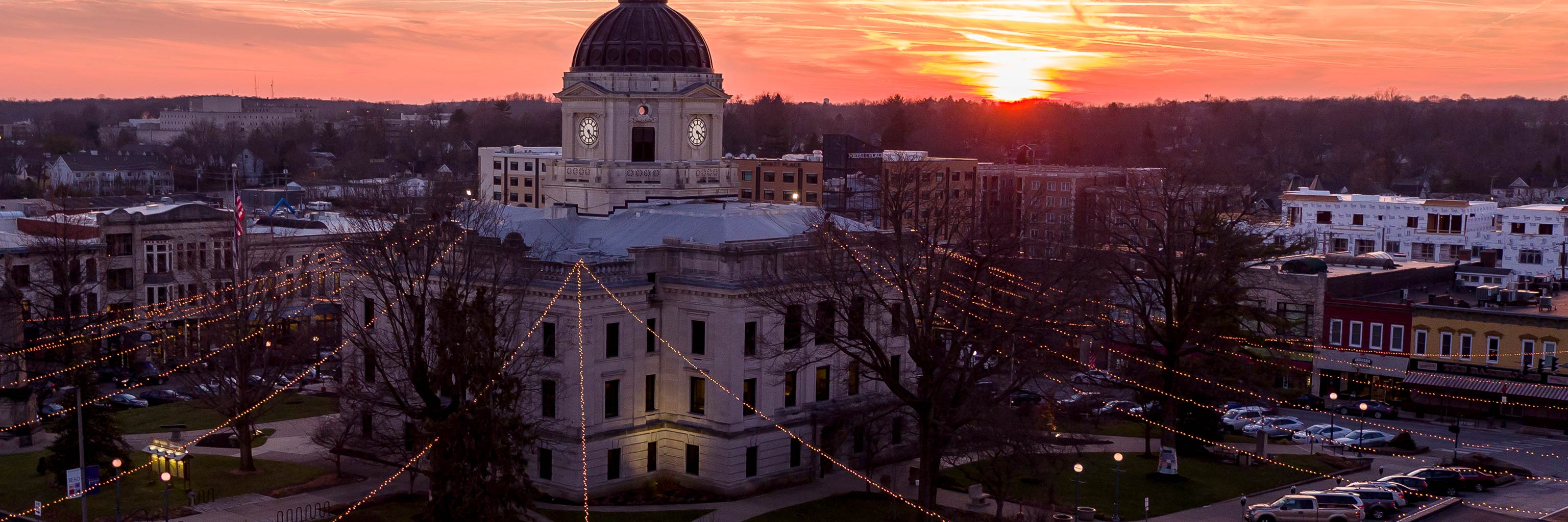 courthouse in Bloomington with lights and sunset