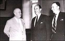 Robert Tucker (on right) with Soviet Premier Nikita Krushchev (on left) and Adlai Stevenson