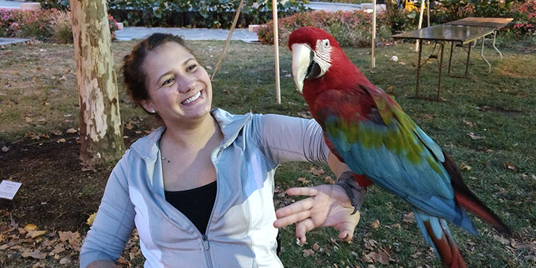 Student holding red colored parrot
